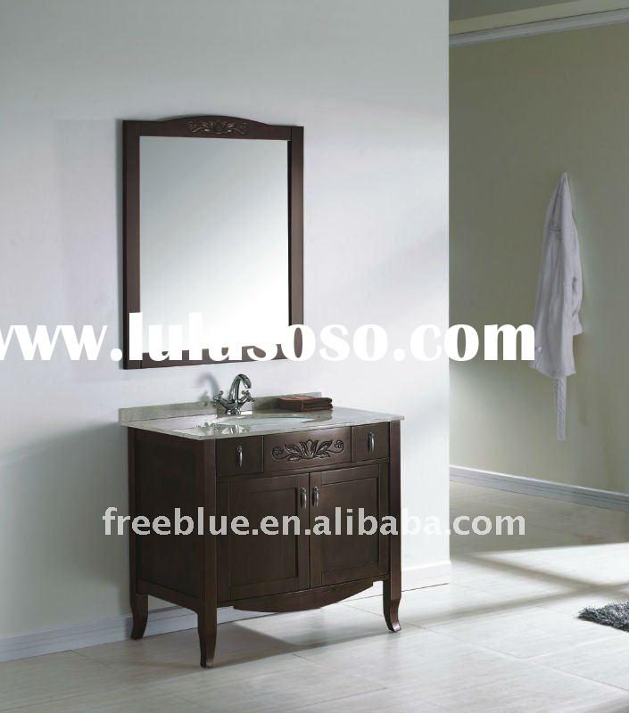 Solid wood bathroom vanity with natural marble