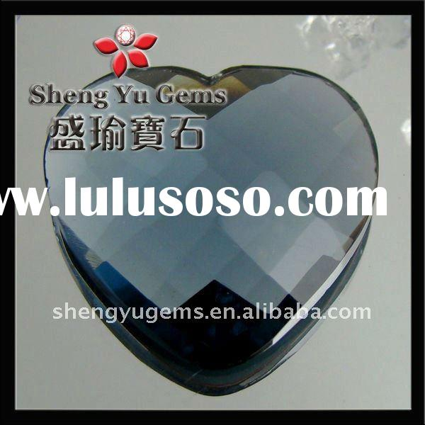 heart-shaped ink blue mirror glass gemstone MGHT0007#603
