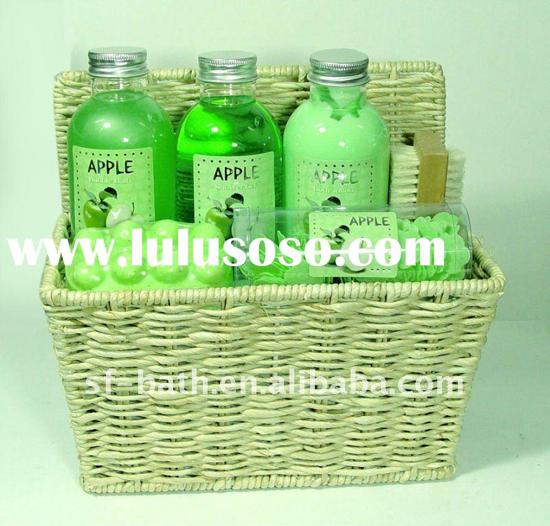 skin care products set in basket