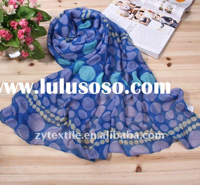 deep blue and circle printing 100%polyester scarf and shawls