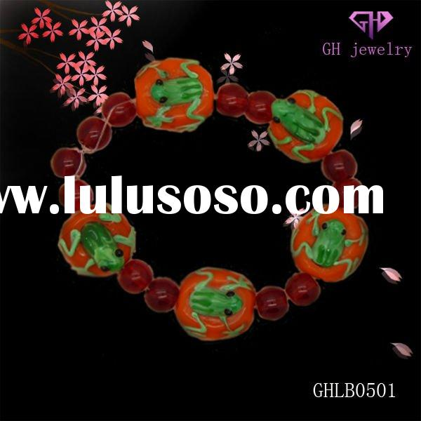 Handmake lampwork glass beads bracelet jewelry with red beads