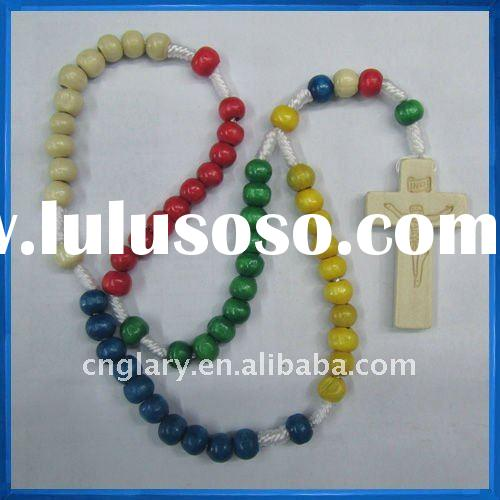 Multi-color wooden rosary,Wholesale five color wood rosary