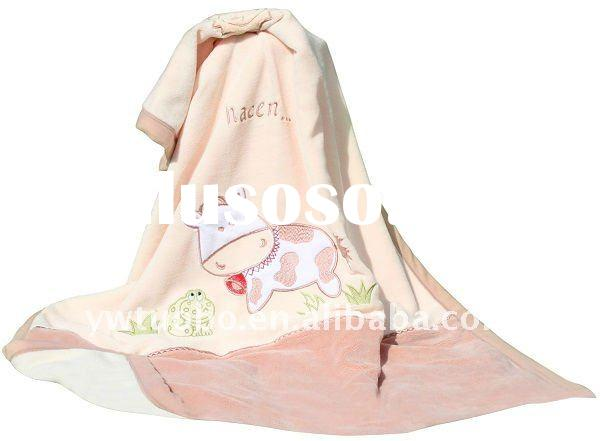 baby  yelllow coral fleece blanket  with cow patterns