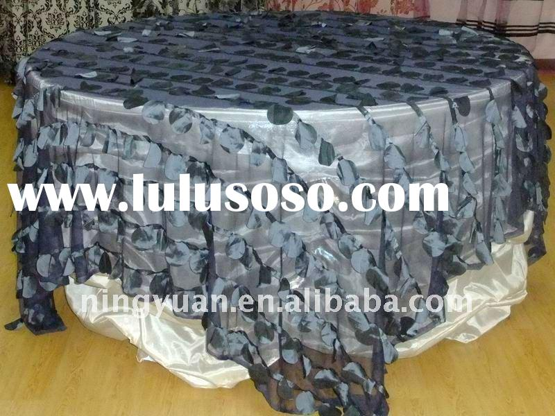 100% Polyester Practical&Fancy Taffeta Apple Embroidery Mesh Table Overlay For Wedding/Party