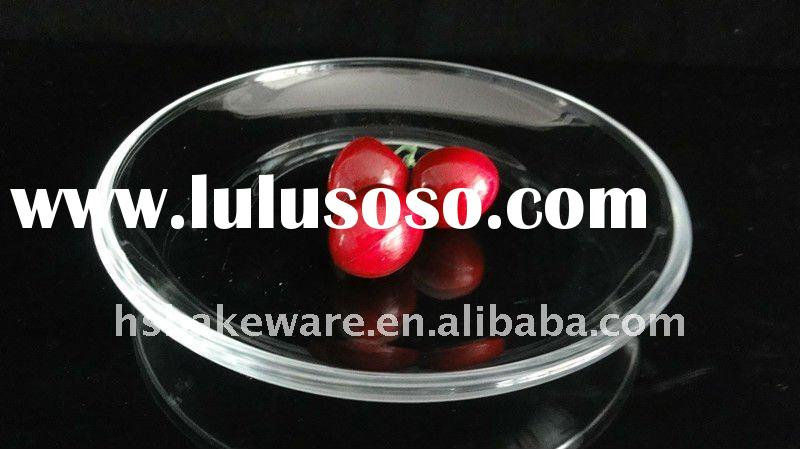 7'' Round borosilicate glass bake dish, glass bakeware,glass plate, fruit tray, temp
