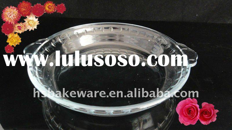 8'' Round.borosilicate glass pie pan, glass bakeware,glass soup dish