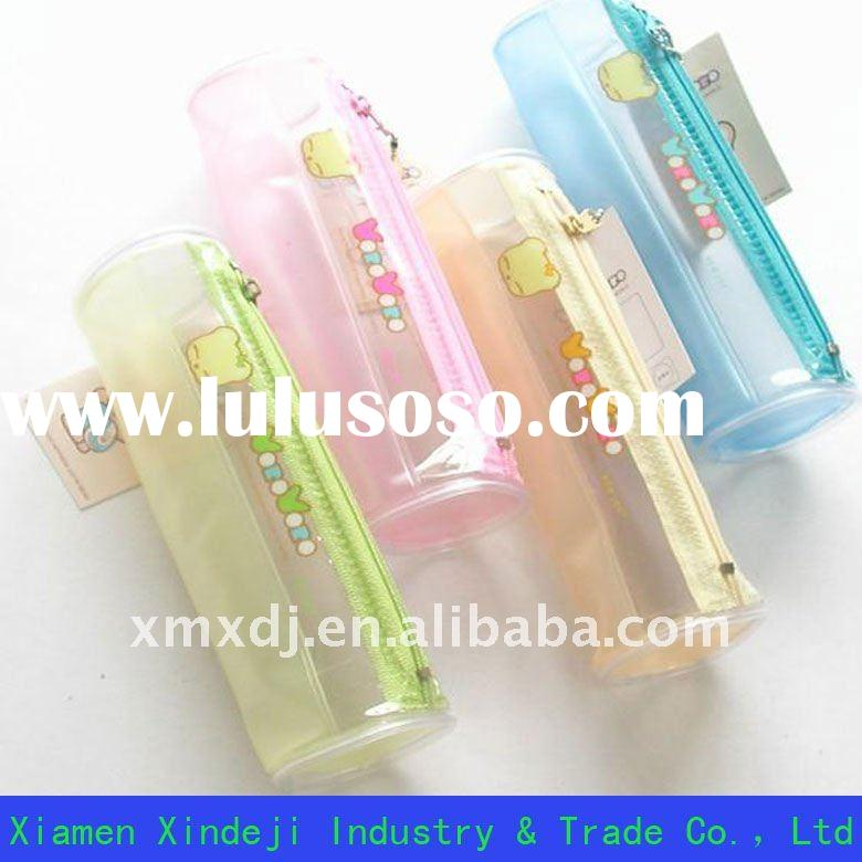 Cylindrical PVC pencil case with colorful piping around XDJ-Z038
