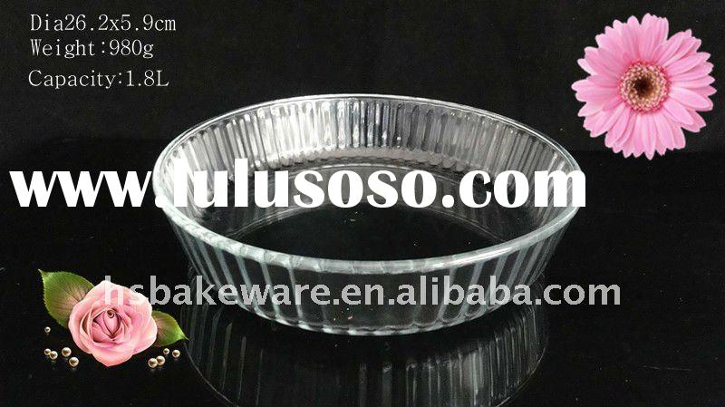 Round borosilicate glass bake dish, glass deep cake dish,glass plate,