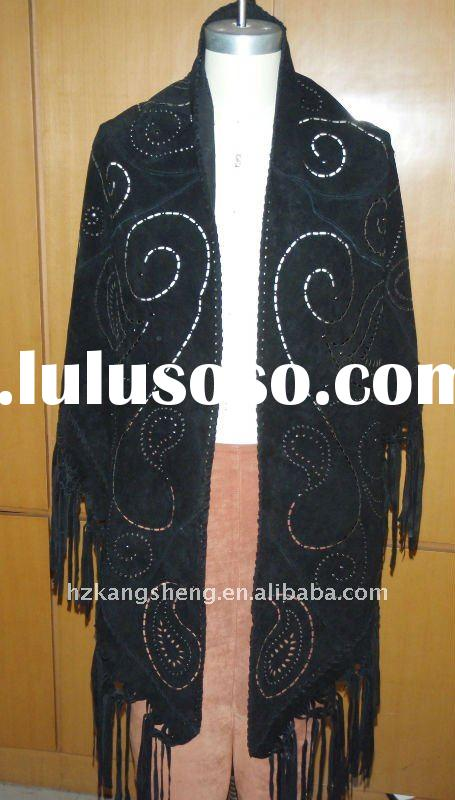 2012 LADIES 100% GENUNIE PIG SUEDE LEATHER SHAWLS,LEATHER CAPES,LEATHER PONCHOS,PIG SUEDE SHAWL,LEAT