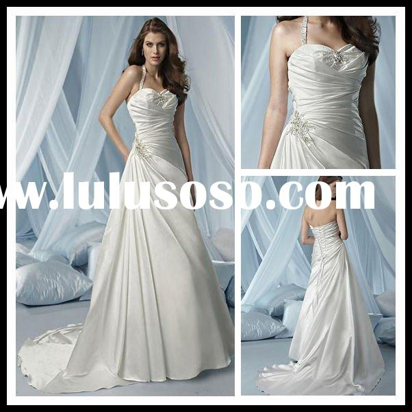 2011 Top Quality Halter  A-Line sleeveless Chapel Train Beaded  Paillette Satin Ruffle Wedding Dress