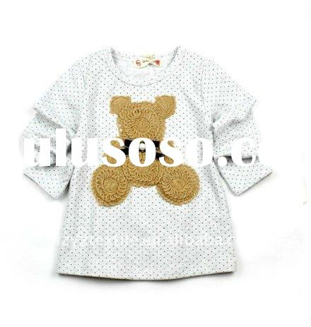 2011New style fashion design Handworked embroidery girls long sleeves children t-shirt child wear ki