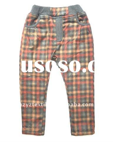 2011New style knitted boys long plaid pants/trousers kids wear child wear children clothing