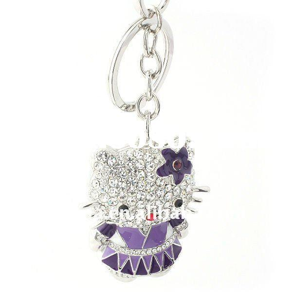 ARINNA White Gold Plated Crystal Kitty key with chain key chain K0029
