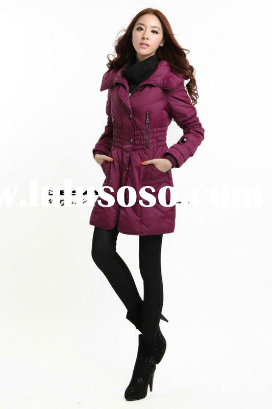 DSW172 ladies' hot trend with PU decoration hood down coat