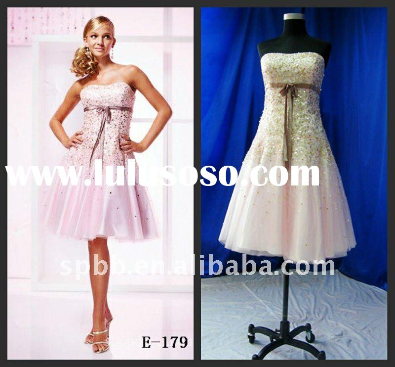 Hot sale A-line strapless  E-179 pink knee-length real fashion evening dress