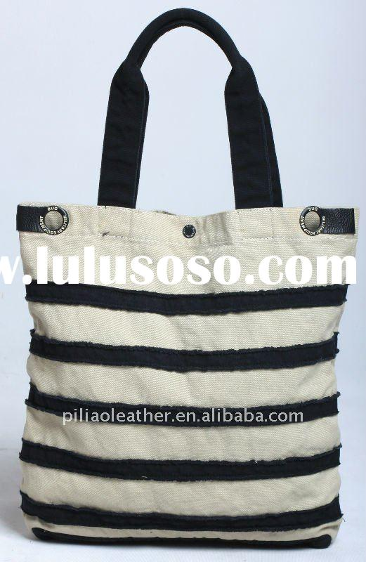Hot Seller washed canvas stripe Tote
