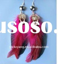 The feather earring ,red color very beautiful natural feather earring