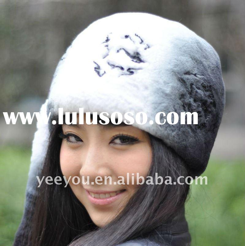 2011 Lady Classic style Rex rabbit Fur Knitted Cap 11YY-DS104