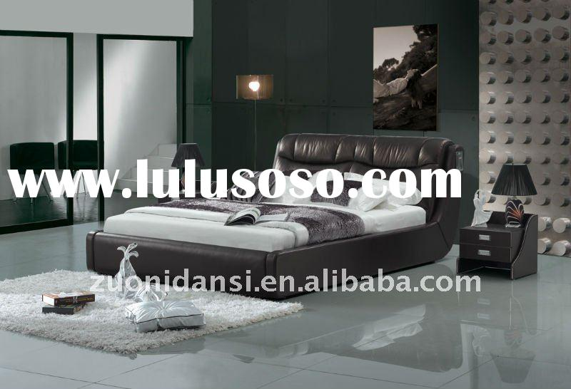 2011 latest good looking modern design genuine leather soft bed G-08#
