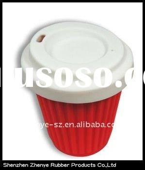 Promotional 100% food grade colorful silicone coffee cup