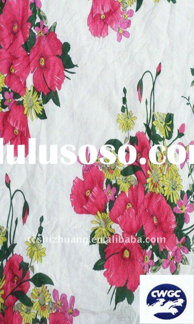 flower print silk/cotton stain fabric for dress making ,silk/cotton print stain fabric ,print fabric