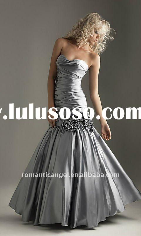 unique silver appliqued floor length evening gown