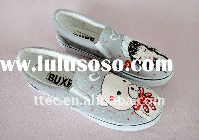 2011 top fashion canvas shoes/hand painted canvas shoes
