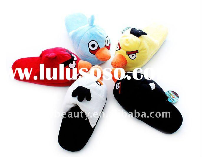2011 Hot angry birds plush winter slippers