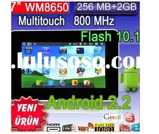 "7 "" tablet pc, VIA  WM8650, Android 2.2, Fash 10.1, Camera, 800MHz, RAM 256MB, Dual touch table"