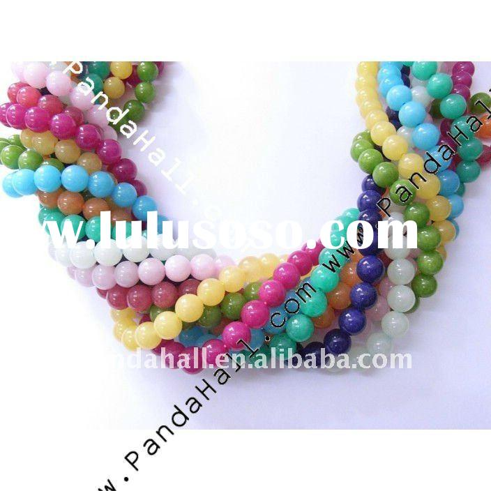 Natural White Jade Beads Strands, Round, Dyed, Multicolor, about 8mm in diameter, hole:1mm, 51pcs/st