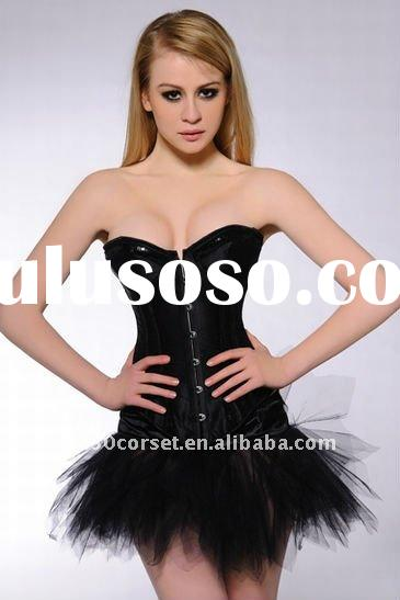Plain black pailette corsets and bustiers 033