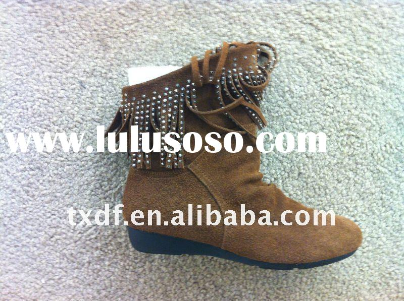 cow suede leather winter boot for women