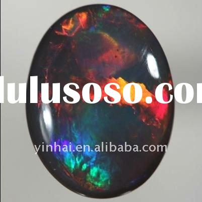 top red multicolor synthetic Opal oval cabochon flat bottom ,red fire Opal diamond gems