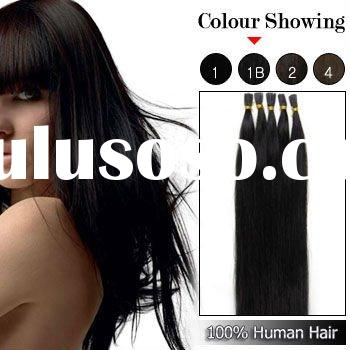 18 Inches 100strands Stick Tip Human Hair Extensions Straight (#1B Natural Black)