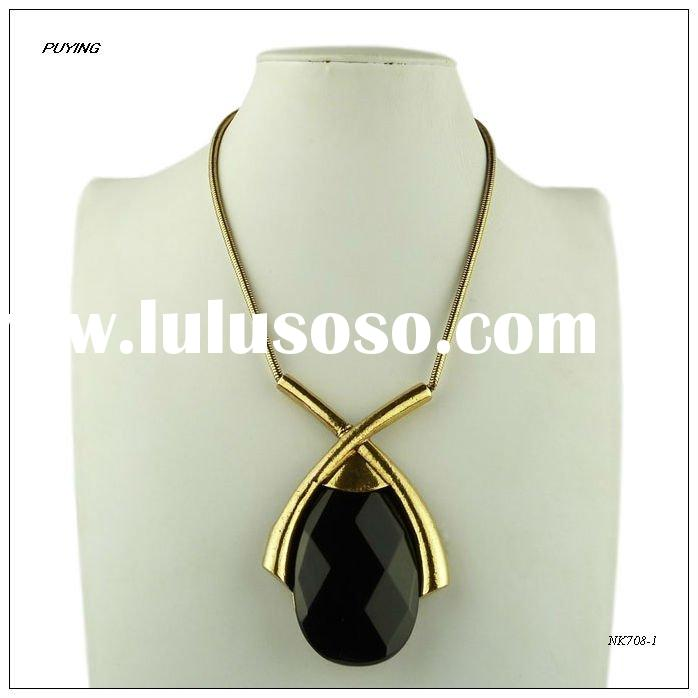 Fashion Black Real Stone Gold-plated Alloy Lady Costume Snake Chain Necklace, High End Stone Jewelry