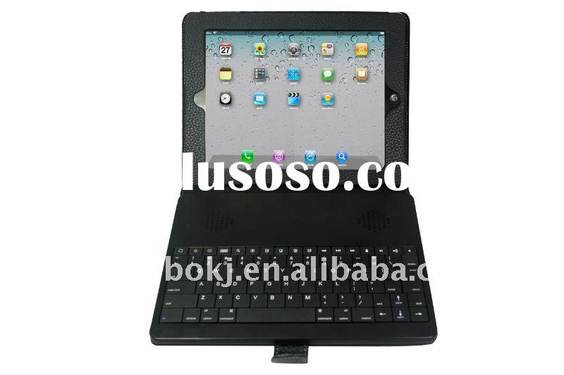 bluetooth keyboard leather case with stereo speaker for Ipad tablets
