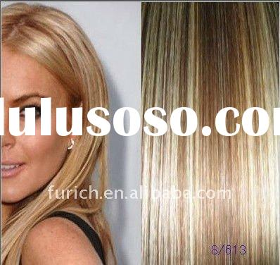 silk straight wave 8/613# India remy human hair extension weft