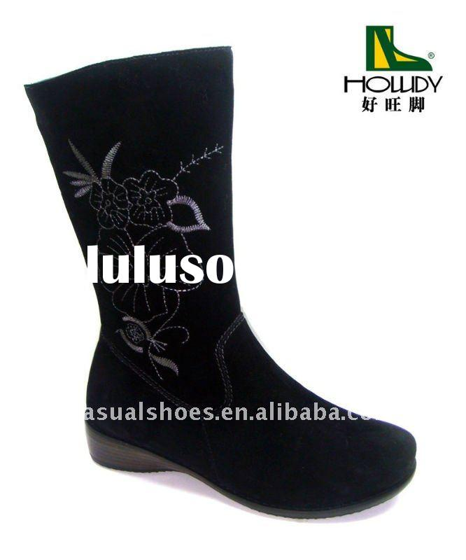 Black flat leather boots for women