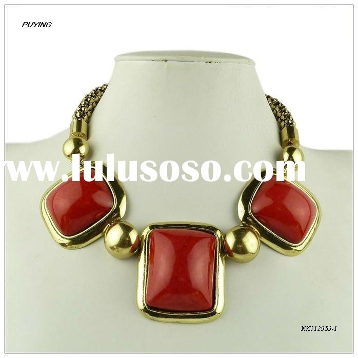 High End Red Resin Zinc Alloy Lady Costume Necklace,Fashion Girl Jewellery