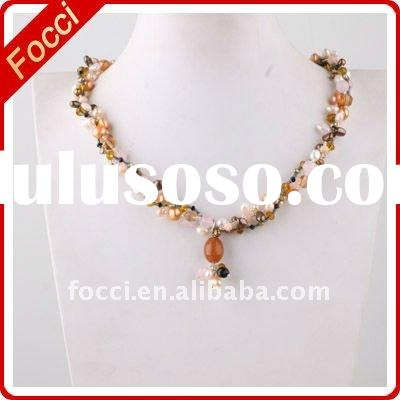 Wholesale charming multistrand freshwater pearl necklace