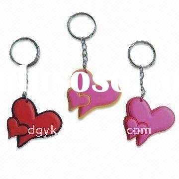 Fashion Heart Shaped Metal Acrylic Keychain