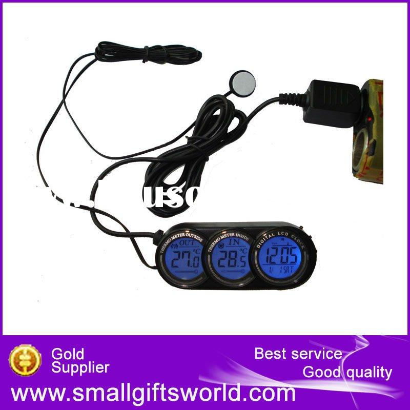 High Quality 12v Car In/Out Thermometer with Clock And Date
