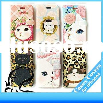 Cute cartoon design leather  wallet case for iPhone4/4G