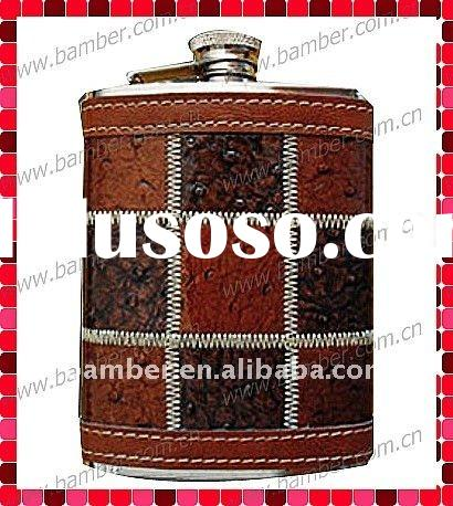 Leather Stainless Steel Hip Flask for Promotion Gifts