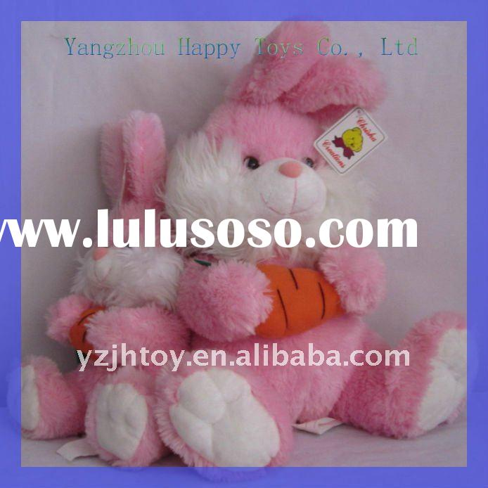 Plush Pink Easter Bunnies Toy, Stuffed Pink Easter Bunny Toys With Carrot