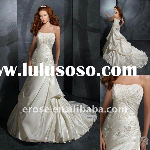 Appliqued Strapless Taffeta Wedding Gowns ML-A209