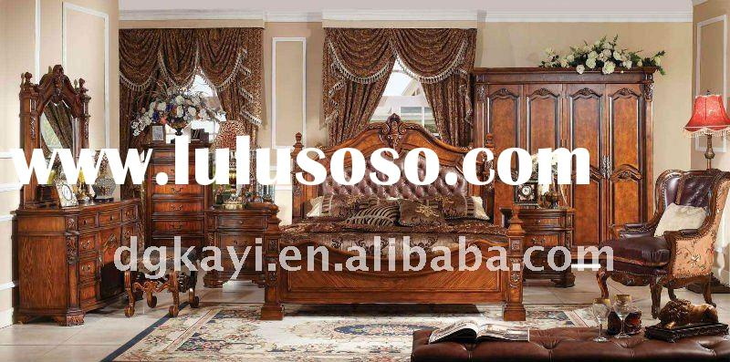 Fashion luxury leather Carved solid wood bed