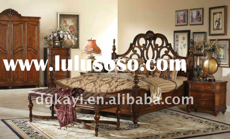 Luxury classical carved solid wood beds