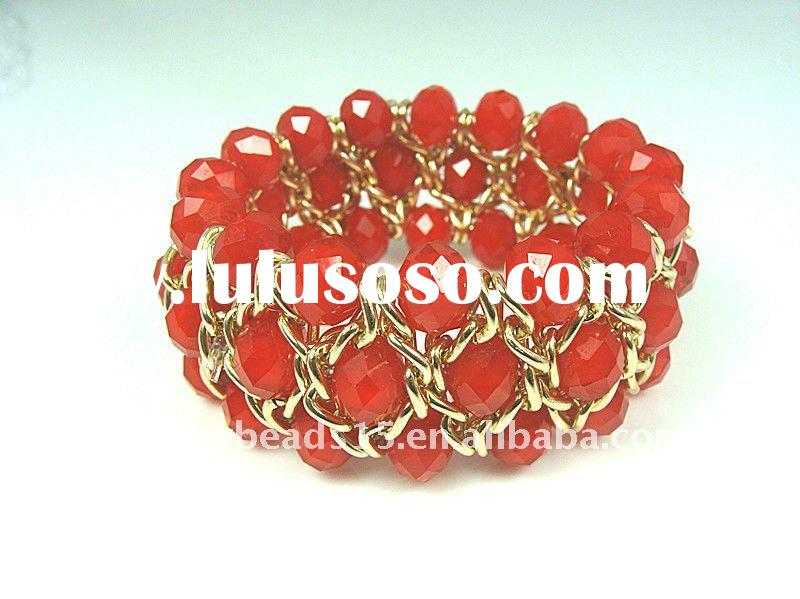crystal and chain knit bracelet