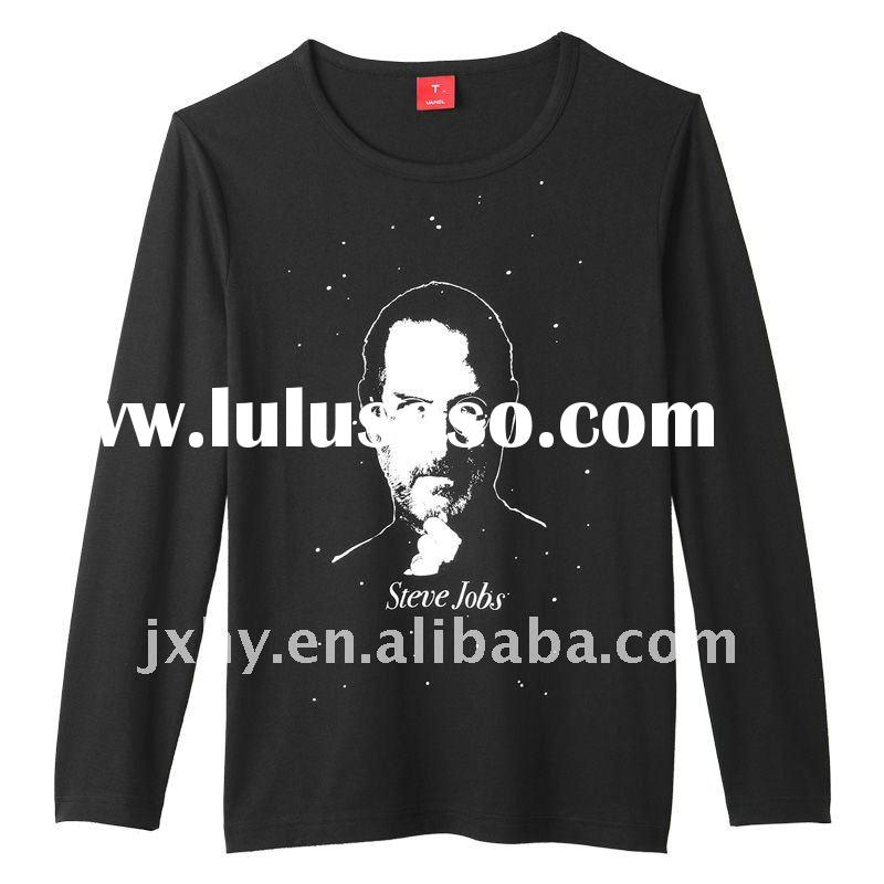 2011 latest fashion STEVE JOBS series silk screen printed 180G cheap men long sleeve o neck low pric